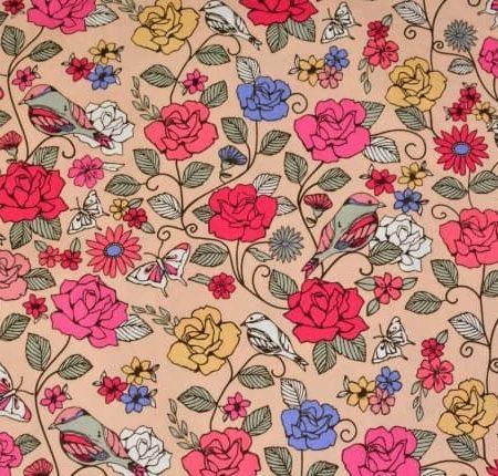 Birds of the Garden in Beige Fabric-0