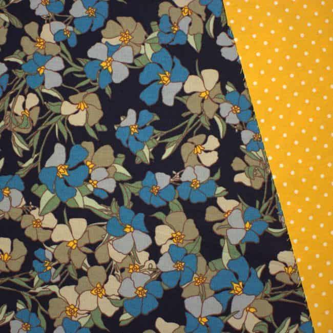 Harlow with Yellow Mustard w/ medium white dots Fabric