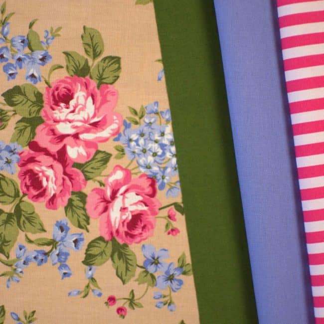 Darla with Olive Green Plain, Soft Blue Cotton Linen Look and Watermelon Stripe Fabrics