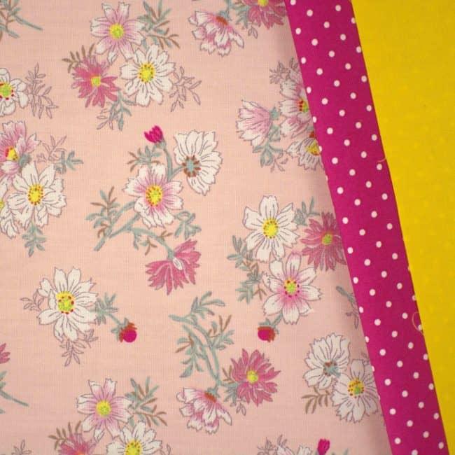Talula w/ Fuchsia w/ Medium White Dots and Golden Yellow Plain Fabrics