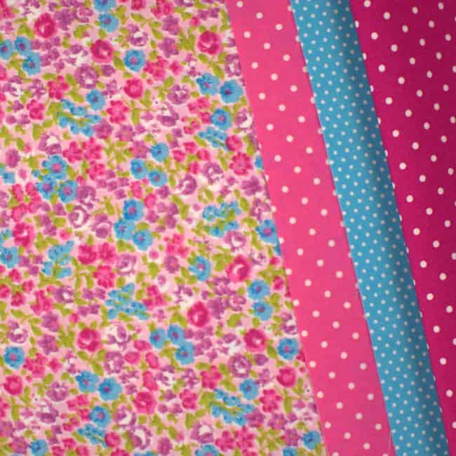 Zara w/ Dark Pink and Fuchsia w/ Medium White Dots and Blue w/ Small White Dots Fabric