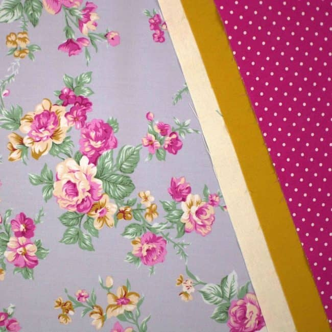 Aisley w/ Parchment cotton Linen Look, Mustard Plain and Fuchsia w/ Medium White Dots Fabric