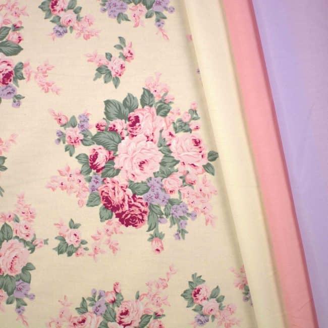 Vienna w/ Cream, Peach and Purple Plain Fabrics