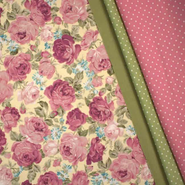 Abigail w/ Dusty Olive Cotton Linen Look and Olive & Dusty Pink W/ Medium White Dots Fabrics