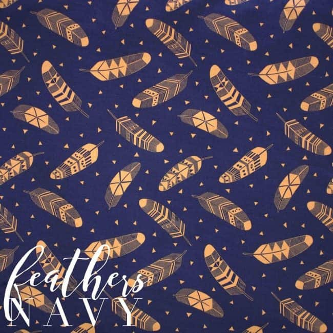 Feathers in Navy Fabric -0