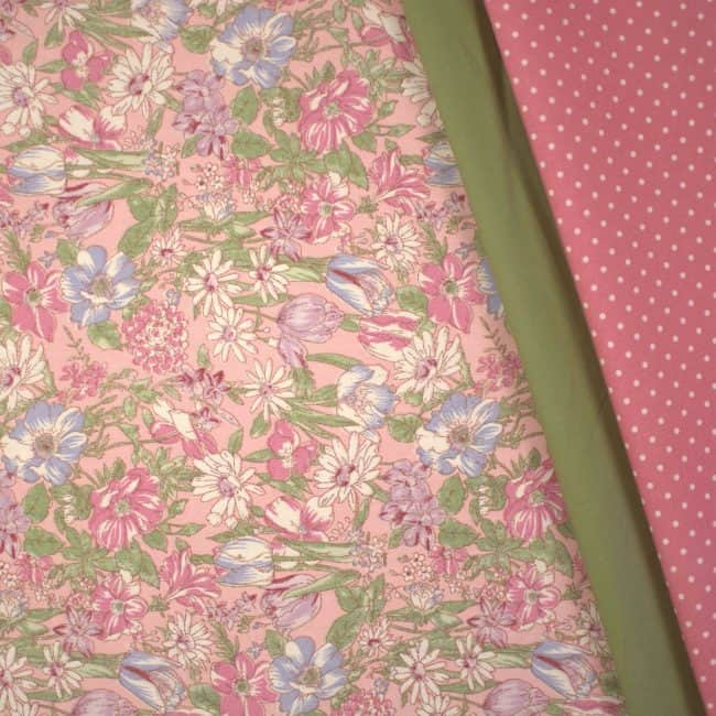 Matched with Dusty Light Olive Plain and Dusty Pink w/ Medium White Dots Fabric