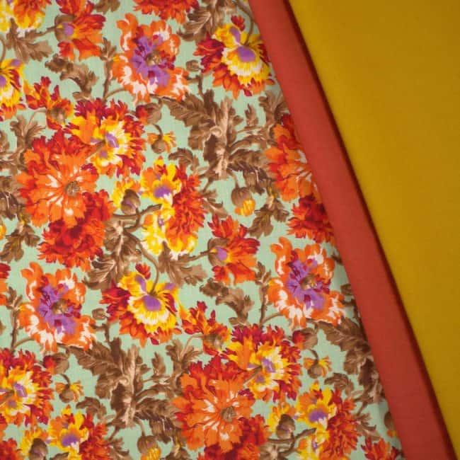 matched with Burnt Orange and Mustard Plain Fabrics