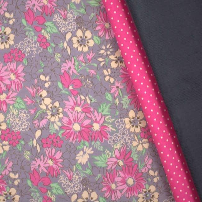 matched with Dark Pink w/ Medium White Dots and Grey Corduroy Fabrics