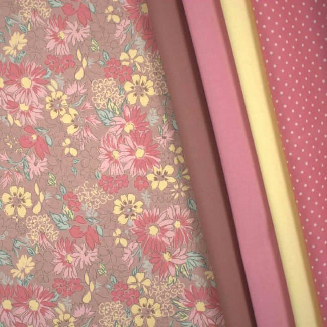 matched with Dusty Terracotta Plain, Carnation & Sunflower Cotton Linen Look and Dusty Pink w/ Medium White Dots Fabrics