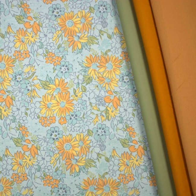 matched with Dusty Light Olive & Honey Mustard Plains and Spice Cotton Linen Look Fabrics