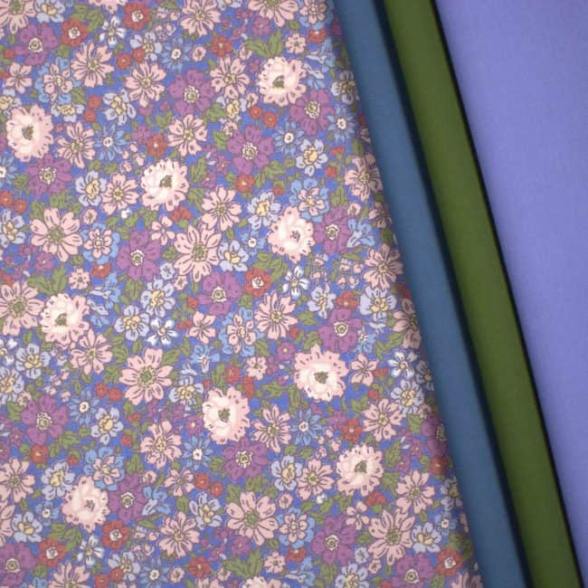 Matched with Dusty Blue & Olive Green Plains and Soft Blue Cotton Linen Look Fabrics