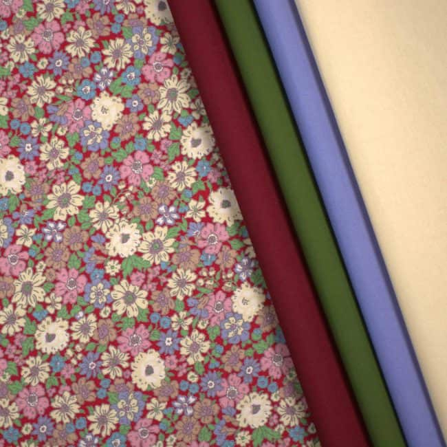 matched with Maroon & Olive Green Plains and Soft Blue & Parchment Cotton Linen Look Fabrics