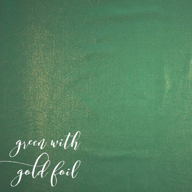 Green Cotton Linen Look With Gold Foil-0