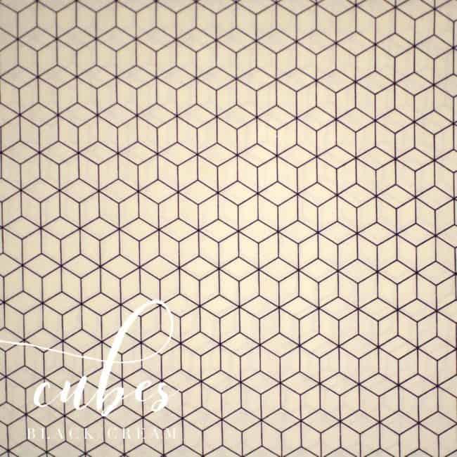 Cubes in Black/Cream Fabric -0