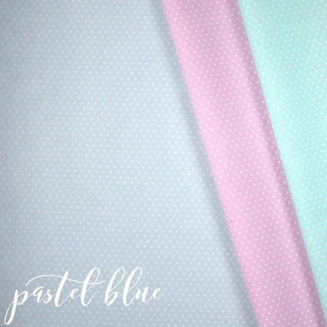 Pastel Blue w/ Small White Dots Fabric-0