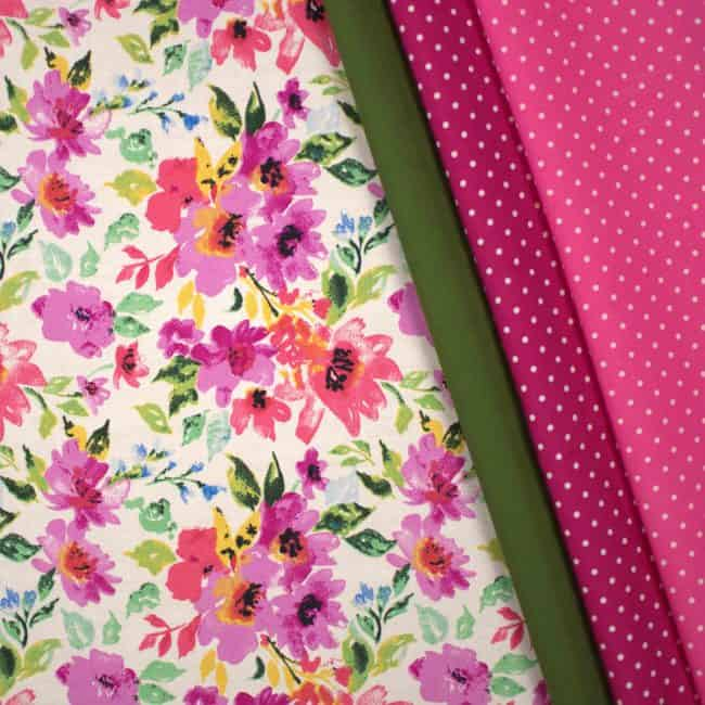 Rosabel Matched with Olive Green Plain and Fuchsia & Dark Pink w/ Medium White Dots Fabrics